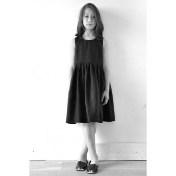 Robe à plis sans manches, lin noir