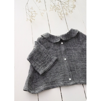 Long sleeves pleated shirt, grey linen