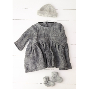 Long sleeves pleated dress, grey linen