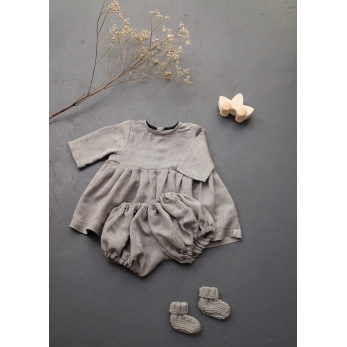 Long sleeves pleated dress, light herringbone