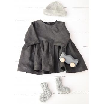 Long sleeves pleated dress, dark herringbone