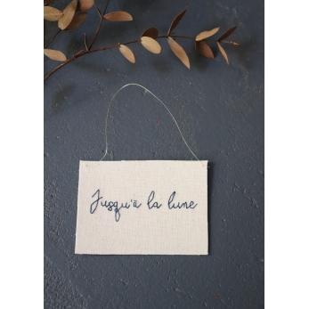 """Embroided words """"Jusqu'à la lune"""""""