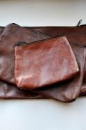 pochette avec fond en cuir marron, taille 1 – VDC pour la Liane